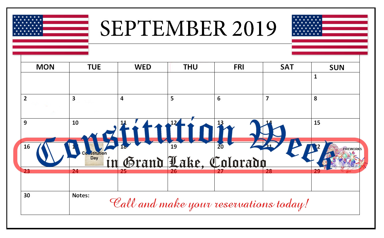 This is a 2018 September Calendar used to remind people of the 2018 Constintution Week dates of September 17-22nd.