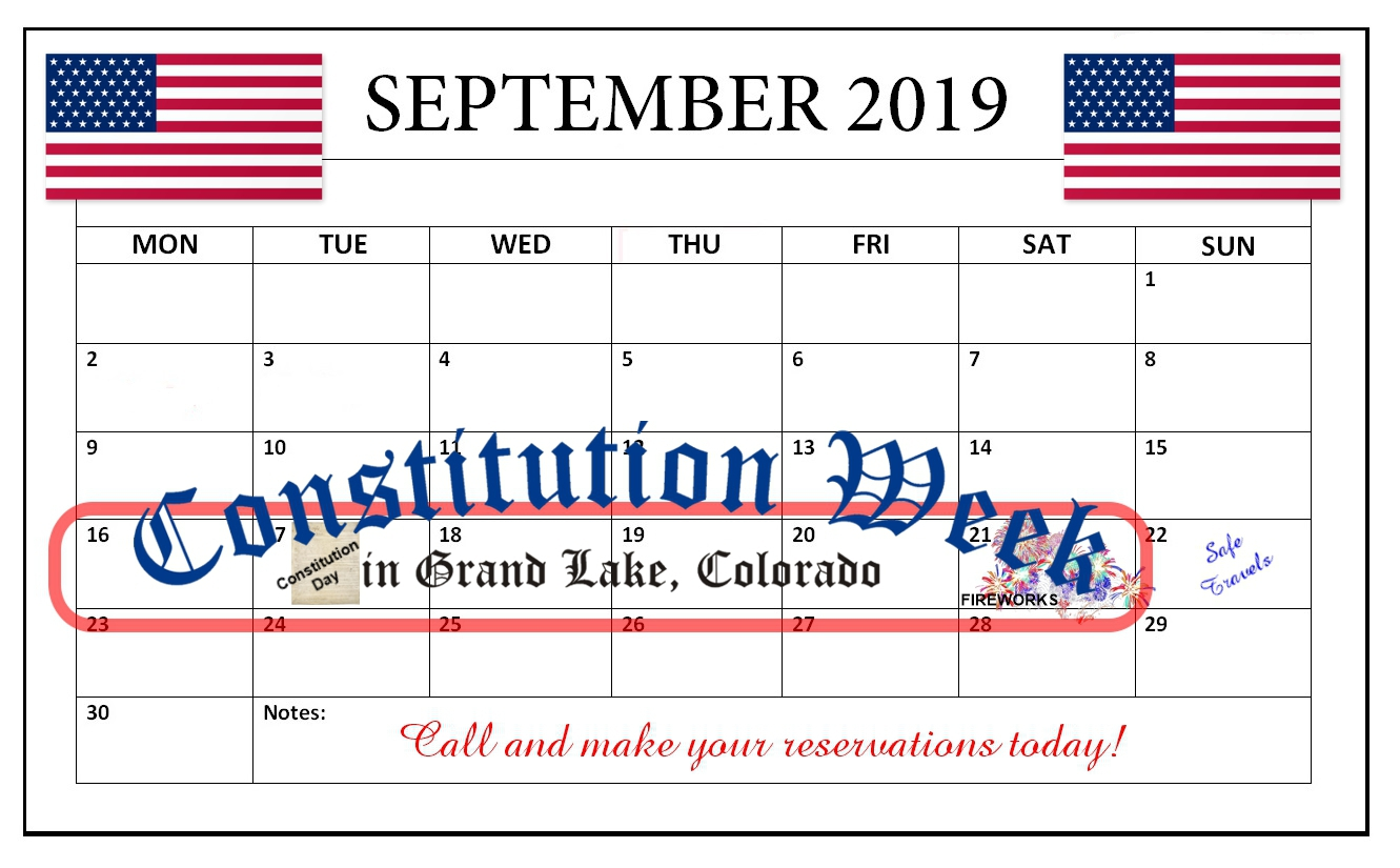This is a 2019 September Calendar used to remind people of the 2019 Constintution Week dates of September 16-21nd.