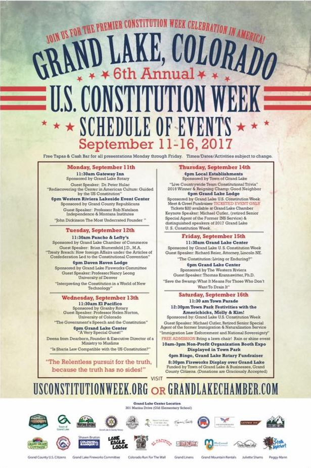 This is a picture of the downloadable 2017 Grand Lake, Colorado U.S. Constitution Week Schedule of Events.