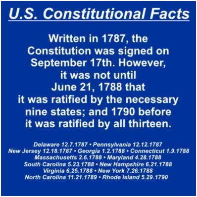 U.S.Constitutional Facts Slide 2 of 12 - Written in 1787, the Constitution was signed on September 17th. However, it was not until June 21, 1788 that it was ratified by the necessary nine states; and 1790 before it was ratified by all thirteen.Delaware 12.7.1787 • Pennsylvania 12.12.1787 • New Jersey 12.18.1787 • Georgia 1.2.1788 • Connecticut 1.9.1788 • Massachusetts 2.6.1788 • Maryland 4.28.1788 • South Carolina 5.23.1788 • New Hampshire 6.21.1788 • Virginia 6.25.1788 • New York 7.26.1788 • North Carolina 11.21.1789 • Rhode Island 5.291.1790