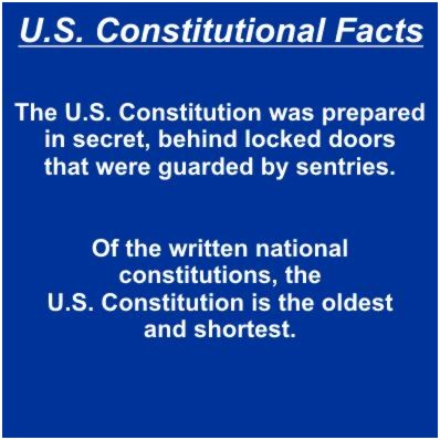 U.S.Constitutional Facts Slide 3 of 12 - The U.S. Constitution was prepared in secret, behind locked doors that were guarded by sentries.Of the written national constitutions, the