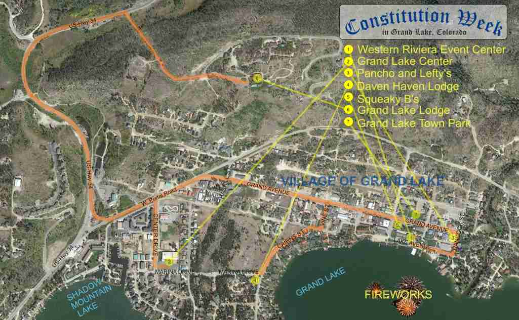 Constitution Week in Grand Lake, Colorado /  This is a MAP to the events in and around the Town of Grand Lake.
