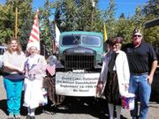 A thumb nail view of Grand Lake, Colorado during Constitution Week in September looking at a group of patriots and the Constitution Week Power Wagon before the start of the parade; click here to open a window with a larger picture.