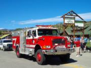 A thumb nail view of Grand Lake, Colorado during Constitution Week in September looking at a large fire truck from the Grand Lake Fire Protection District; click here to open a window with a larger picture.