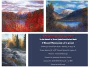 A thumb nail view in Grand Lake, Colorado during Constitution Week in September looking a a group of paintings by Marjorie Cranston dontated by Jackstraw Galleries that were raffled off to help raise funds for this event; click here to open a window with a larger picture.