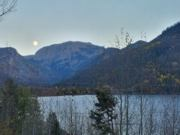 A thumb nail view of Grand Lake, Colorado during Constitution Week in September looking at a full moon rising over Mt. Craig and Shadow Mountain Lake; click here to open a window with a larger picture.