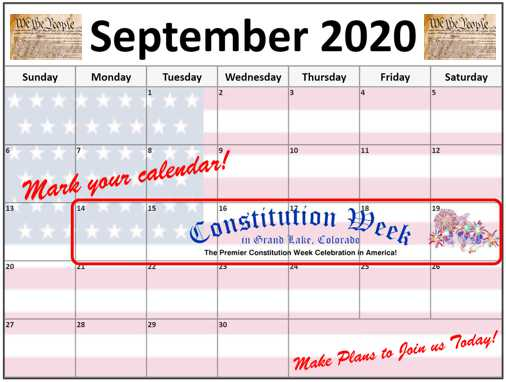 This is a 2020 September Calendar used to remind people of the 2020 Constintution Week dates of September 14-19th.